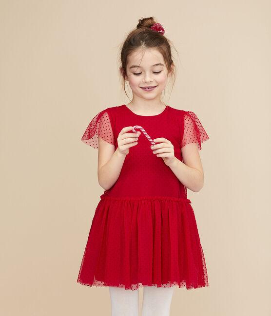 Vestido de manga corta para niña rojo Terkuit