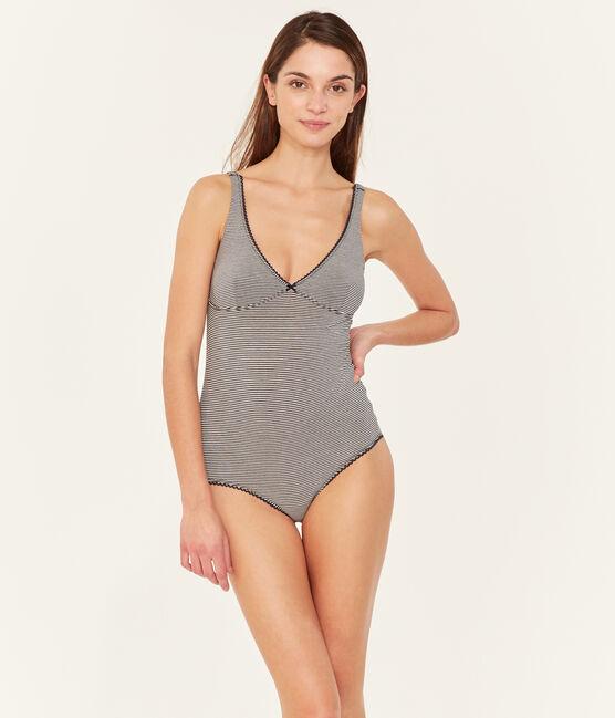 Body sin mangas de punto extrafino para mujer azul Abysse / blanco Lait