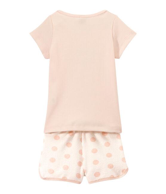 Pijama corto en dos materias para niña blanco Lait / rosa Rose