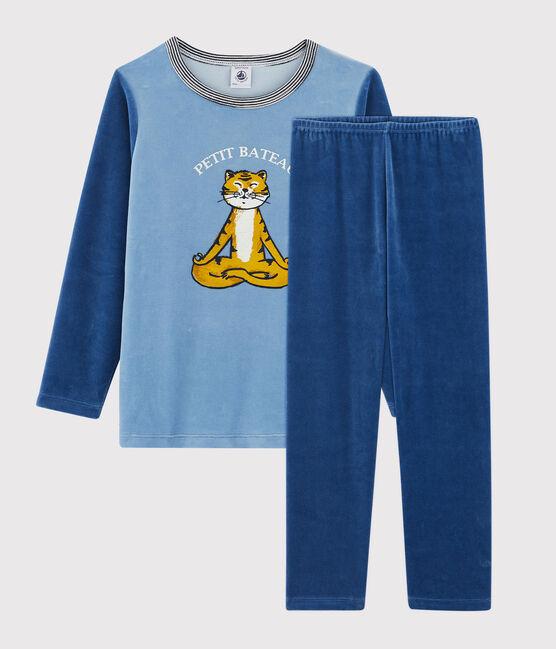 Pijama de terciopelo de niño pequeño azul Alaska / azul Major
