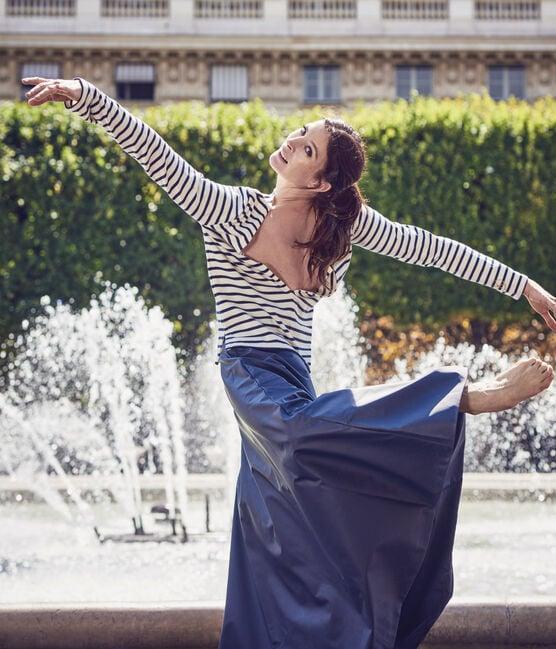 Marinière femme décolletée dans le dos. Petit bateau x Marie-Agnès Gillot beige Coquille / azul Smoking
