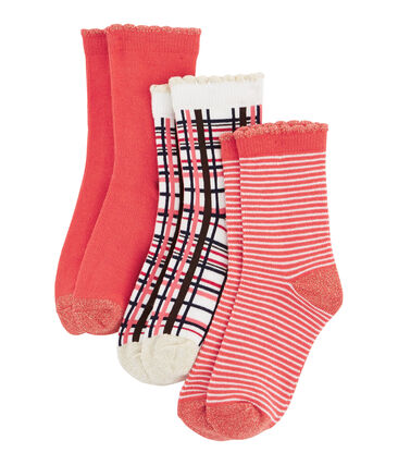 Lote de 3 pares de calcetines infantiles para niña rojo Signal / blanco Multico