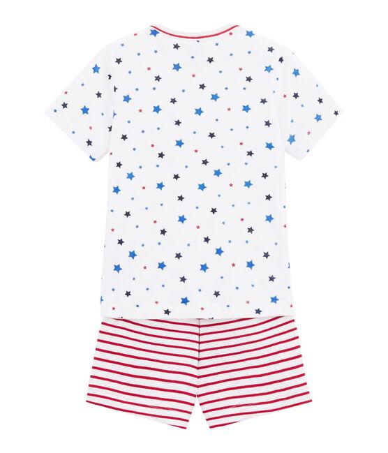 Pijama corto estampado y rayado para niño blanco Marshmallow / blanco Multico