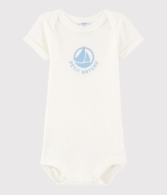 Bodi de manga corta de bebé niña/niño blanco Marshmallow