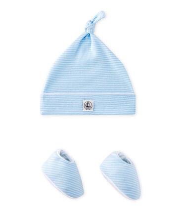 Conjunto de gorrito de nacimiento y zapatitos de bebé azul Fraicheur / blanco Ecume