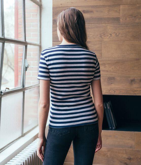 Camiseta de manga corta icónica de mujer azul Smoking / gris Beluga