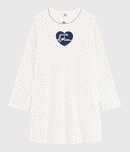 Camisón de chica - mujer con mini corazones con acanalado blanco Marshmallow / azul Medieval
