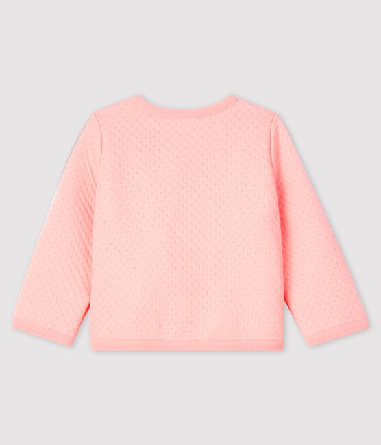 Cárdigan de tejido túbico para bebé niña rosa Minois