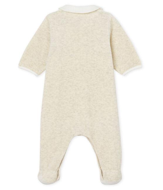 Pelele y babero de terciopelo de algodón para bebé unisex gris Montelimar Chine
