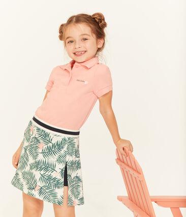 Polo manga corta infantil para niña blanco Marshmallow