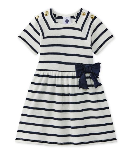 vestido para bebé niña a rayas blanco Marshmallow / azul Smoking
