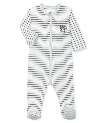 Pijama de punto para bebé niño blanco Marshmallow / azul Medieval