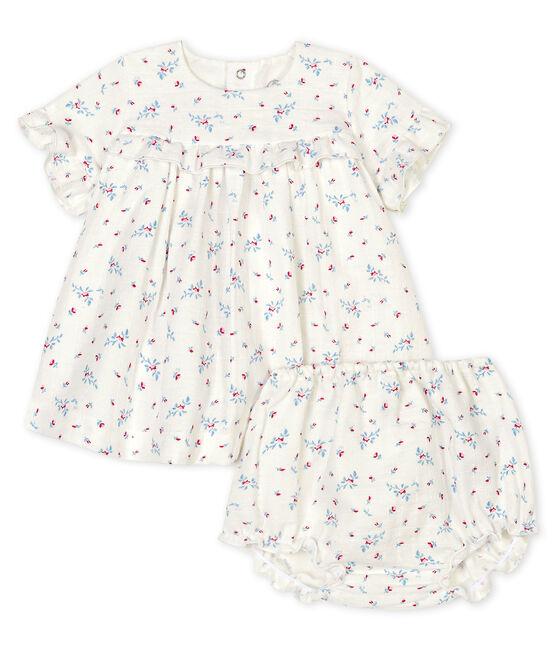 Vestido con pololo de popelina de flores para bebé niña blanco Marshmallow / blanco Multico