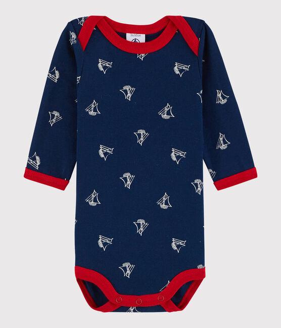 Bodi de manga larga de bebé niño azul Medieval / blanco Marshmallow