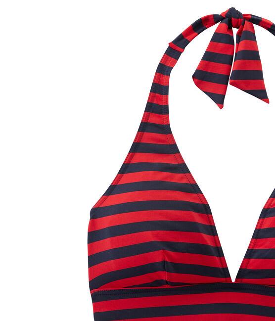 Traje de baño para mujer a rayas marineras azul Smoking / rojo Terkuit