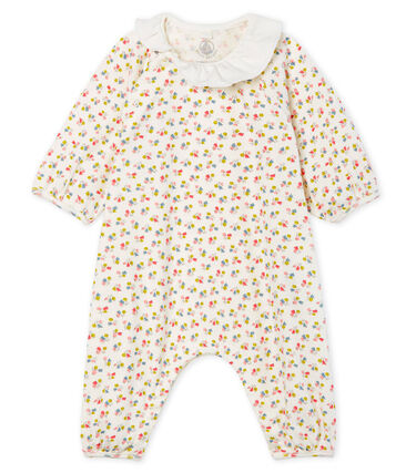 Mono largo para bebé niña de punto blanco Marshmallow / blanco Multico