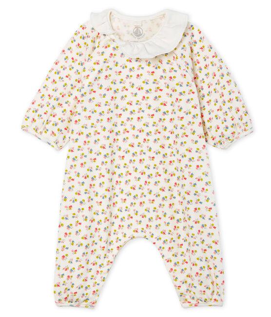 Mono largo de punto para niña pequeña blanco Marshmallow / blanco Multico
