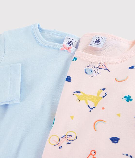 Juego de 2 camisetas de manga larga con animales yoga de niña pequeña lote .