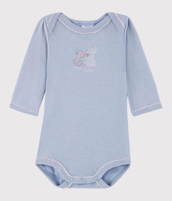 Bodi de manga larga de bebé niña azul Vanais