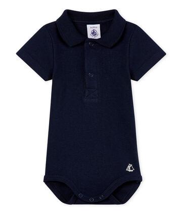 Bodi con cuello de polo para bebé niño azul Smoking