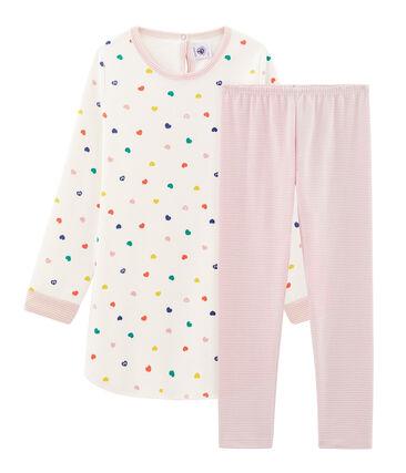 Camisón de manga larga de corazones para niña de punto doble cara blanco Marshmallow / blanco Multico