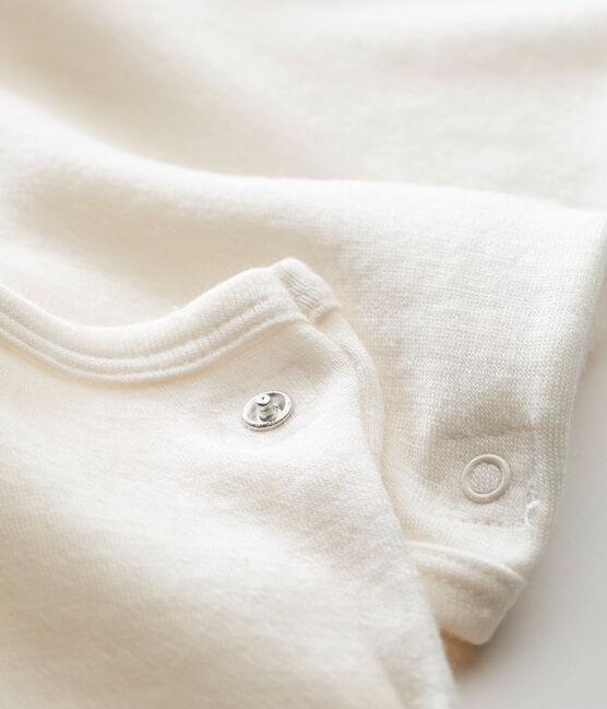 Body bebé de manga larga 2 en 1 en lana y algodón beige Ecru