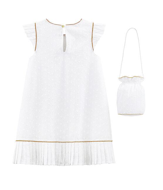 Vestido con bolso de ceremonia infantil para niña blanco Ecume