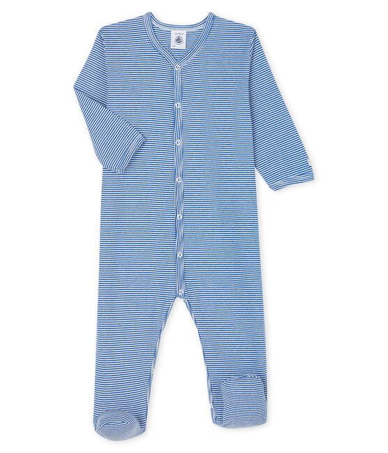 Pelele de canalé de rayas azules para bebé azul Pablito / blanco Marshmallow