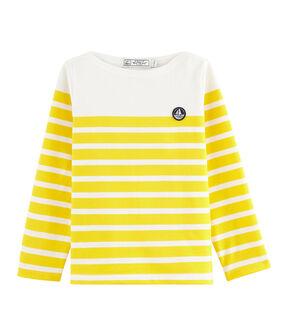 Marinera de punto jersey infantil blanco Marshmallow / amarillo Shine