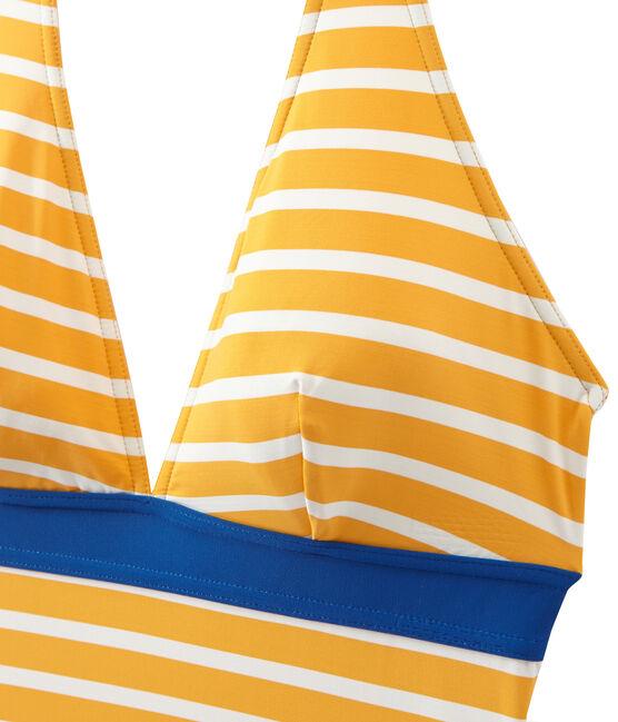 Bañador rayado de 1 pieza para mujer naranja Fusion / blanco Marshmallow
