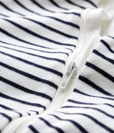 Bodyjama con cremallera para bebé de punto blanco Marshmallow / azul Smoking