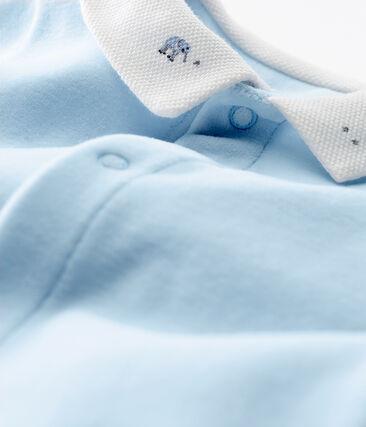 Pelele de terciopelo de algodón liso para bebé niño azul Fraicheur
