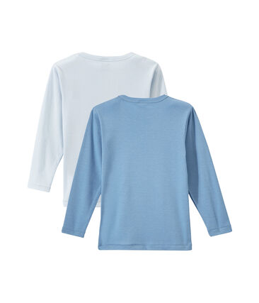 Lote de 2 camisetas de manga larga lisas para niño
