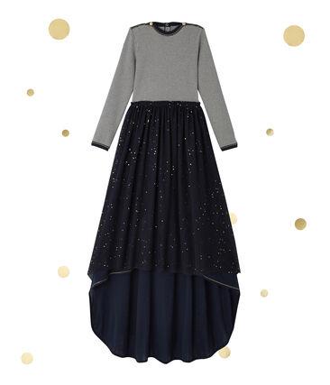 Vestido manga larga efecto 2 en 1 Petit bateau x Marie-Agnès Gillot azul Smoking / beige Coquille