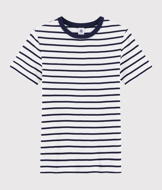 Camiseta icónica con cuello redondo para mujer blanco Marshmallow / azul Smoking