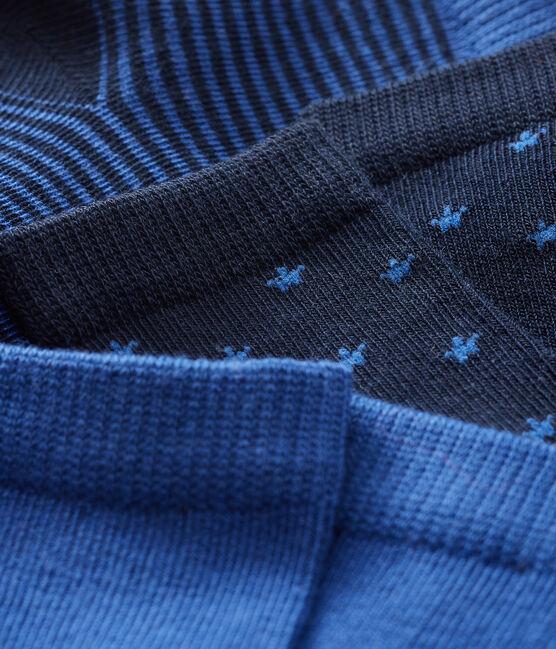 Lote de 3 pares de calcetines para bebé niño azul Smoking / azul Limoges
