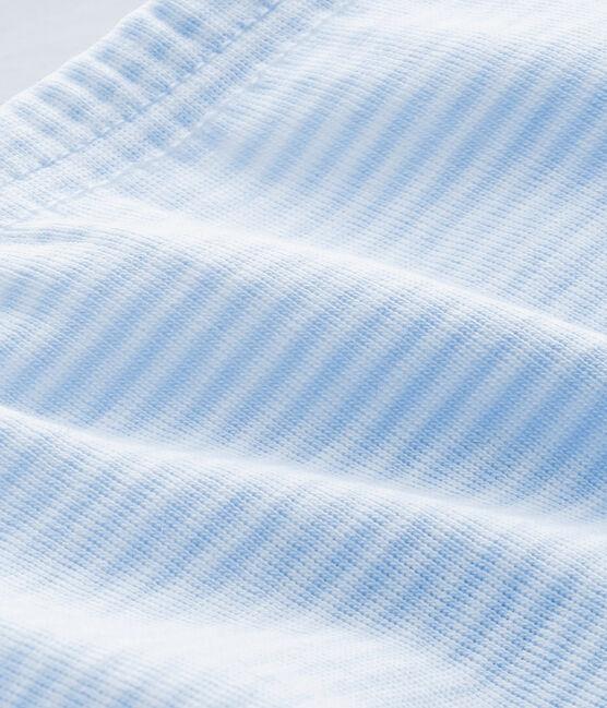 PANTALÓN UNISEX LISO CON PATUCOS PARA BEBÉ azul Fraicheur / blanco Ecume