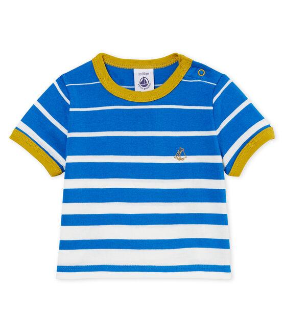 Camiseta manga corta de rayas para bebé niño azul Riyadh / blanco Marshmallow