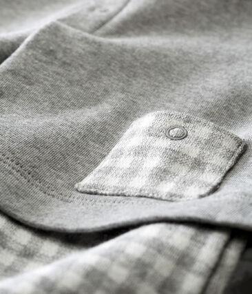 Pelele largo vichy para bebé niño gris Subway / blanco Marshmallow