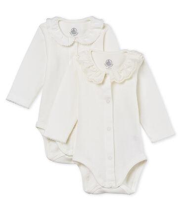 Lote de 2 bodis manga larga con cuello para bebé niña lote .