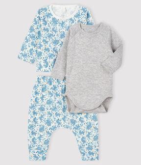 Conjunto de 3 piezas tejido acanalado para bebé niño blanco Marshmallow / blanco Multico