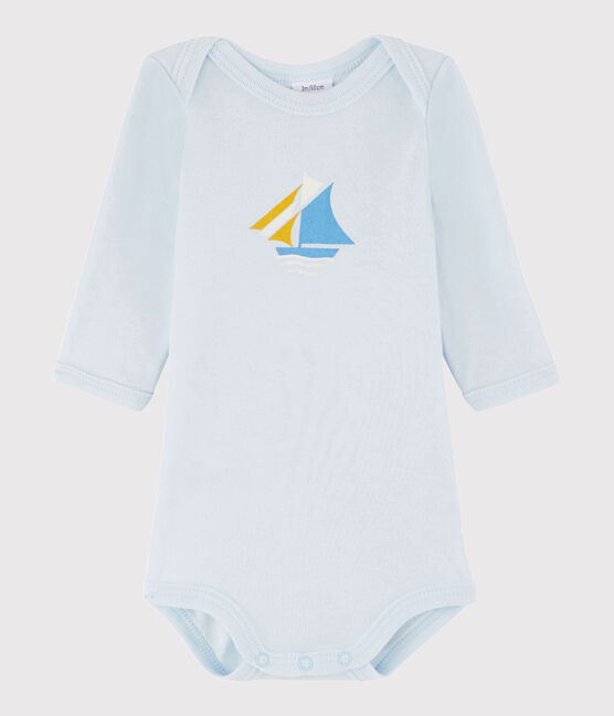 Bodi de manga larga de bebé niño azul Fraicheur
