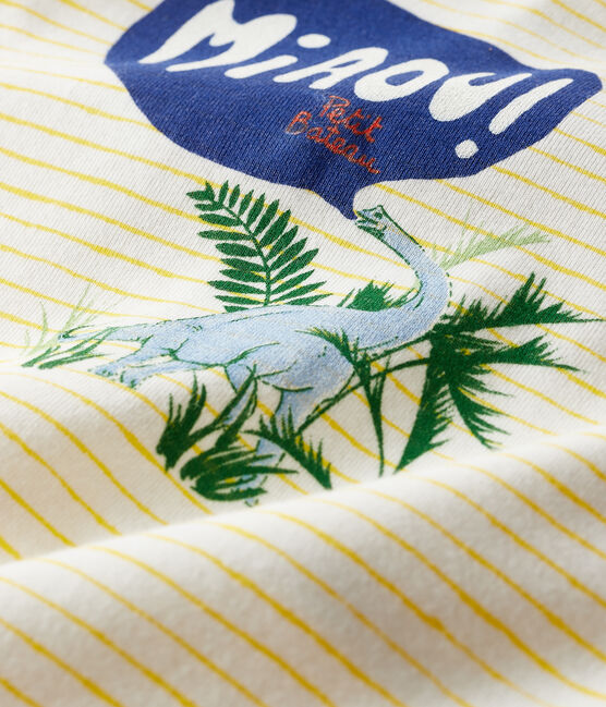 Pijama de punto para bebé de niño blanco Marshmallow / amarillo Shine