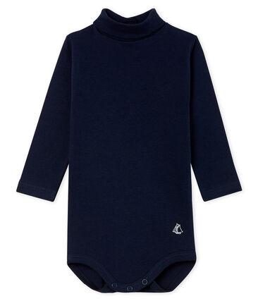 Body de manga larga y cuello redondo para bebé unisex azul Smoking