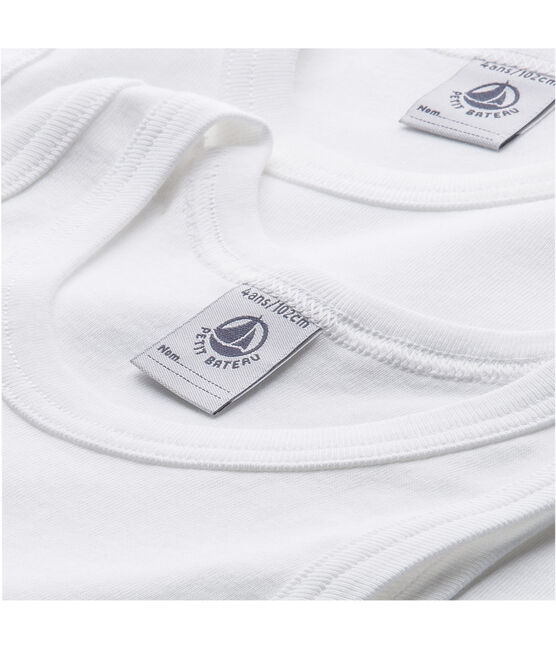 Lote de 2 camisetas sin manga lisas blancas niño lote .
