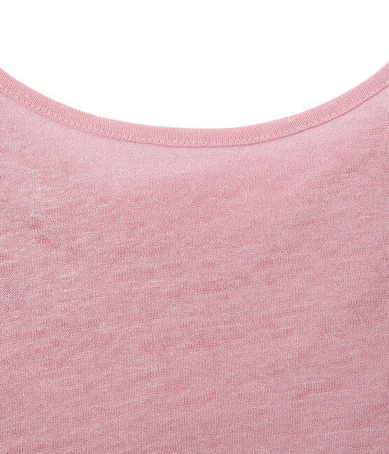 Camiseta de lino con cuello redondo rosa Babylone / gris Argent