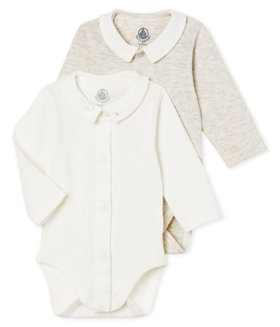 Lote de 2 bodis manga larga con cuello para bebé niño lote .