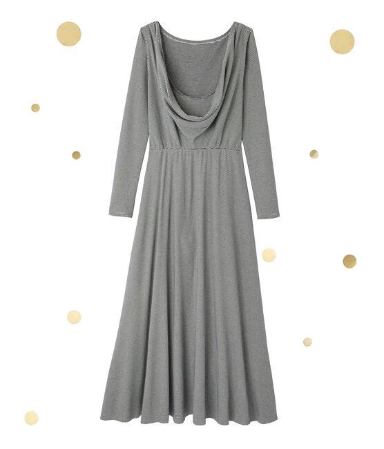Robe longue femme à manches longues. Petit bateau x Marie-Agnès Gillot azul Smoking / beige Coquille