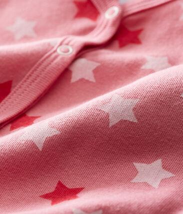 Pelele sin pies y babero para bebé niña rosa Cheek / blanco Multico