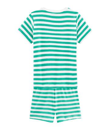 Pijama corto de punto para niño verde Esperanza / blanco Marshmallow